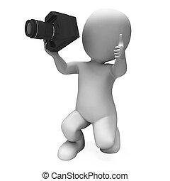 fotografování, charakter, ukazuje, fotografie,...
