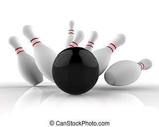 Bowling Strike Showing Winning Skittles Game - Bowling...