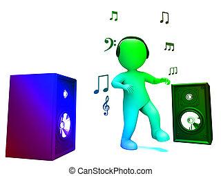 Dançar, discoteca, personagem, mostra, Alto,...