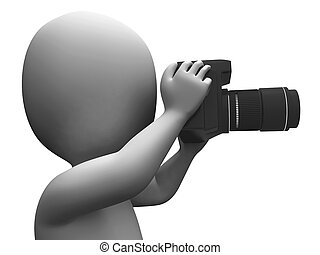 Photo Character Shows Photographic Dslr And Photography -...