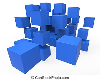 Exploded Blocks Showing Unorganized Puzzle And Explosion