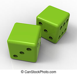 Blank Green Dice Shows Copyspace Gambling And Luck