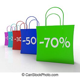 Percent Off On Shopping Bags Shows Bargains And Promotions