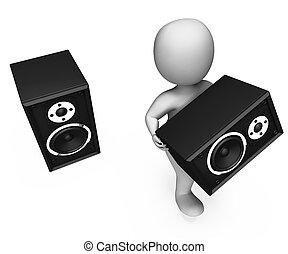 Loudspeakers Character Shows Loud Speakers Music Disco Or...