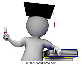 Student With Diploma Shows Graduation