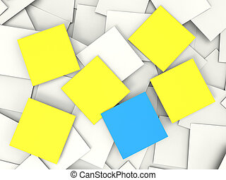 Blank Postit Notes Shows Copyspace Memos And Notices - Blank...