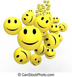Smileys, exposition, heureux, positif, faces
