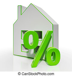House And Percent Sign Shows Investment Or Discount