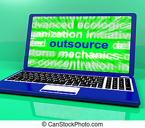 Outsource Laptop Shows Subcontracting Outsourcing And...