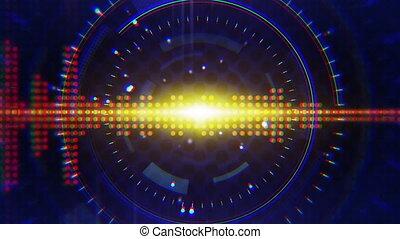 sine waves loop background - orange sine waves on blue....
