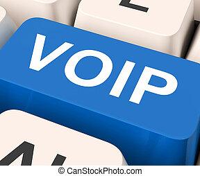 Voip, llave, medios, voz, encima, internet, protocolo