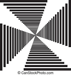 Abstract descending stairs perspective tunnel illusion