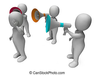 Loud Hailer Character Showing Megaphone Shouting Yelling And...