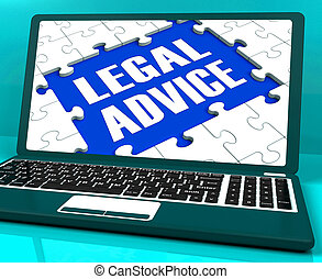 Legal Advice Laptop Shows Criminal Attorney Expert Guidance...
