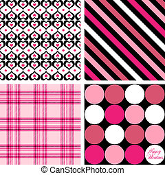 Four Valentine Patterns - A set of four background patterns...