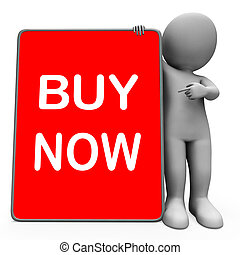 Buy Now Character Tablet Showing Buy And Purchase...