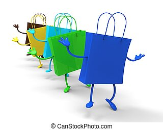 Shopping Bags Dancing Shows Retail Buys Or Buying