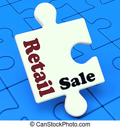 Retail Sale Puzzle Shows Consumer Selling Or Sales