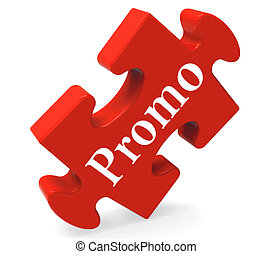 Promo Puzzle Shows Promotion Promos Discounts And Reductions...