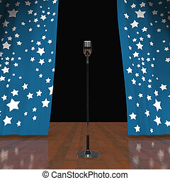 Microphone On Stage Shows Concert Or Talent Show -...