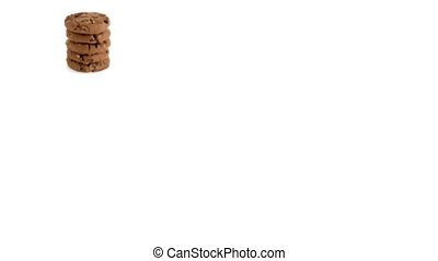 Chocolate chip cookies isolated on white background, slide...