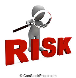 Risky Character Shows Dangerous Hazard Or Risk - Risky...