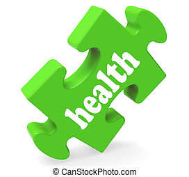 Health Puzzle Shows Healthy Medical And Wellbeing - Health...