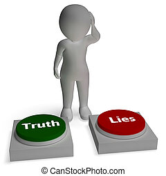 Truth Lies Buttons Shows Honest Or Dishonesty - Truth Lies...