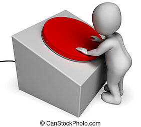 Man Pushing Red Button Shows Controlling