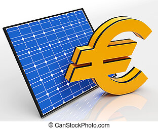 Solar Panel And Euro Shows Saving Money - Solar Panel And...