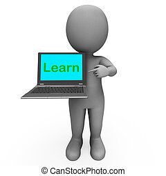 Learn Character Laptop Shows Web Learn Or Studying - Learn...