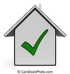 Home Icons With Check Showing House For Sale - Home Icons...