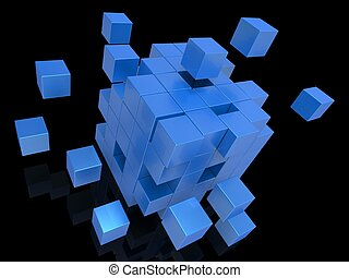 Exploding Blocks Showing Unorganized Puzzle And Explosion