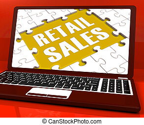 Retail Sales Laptop Shows Selling Or Sales Online - Retail...