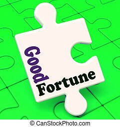 Good Fortune Puzzle Shows Fortunate Winning Or Lucky