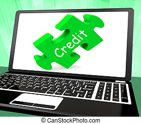 Credit Laptop Shows Finance Or Loaning For Purchasing -...