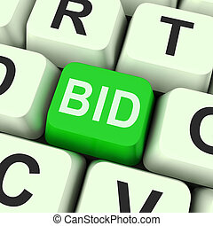 Bid Key Shows Online Auction Or Bidding - Bid Key Showing...