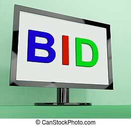 Bid On Monitor Shows Bidding Or Auction - Bid On Monitor...