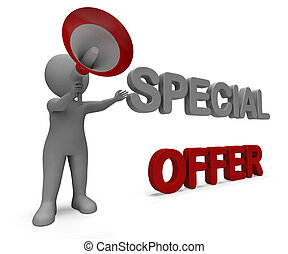 Special Offer Character Shows Bargain Offering Or Discount