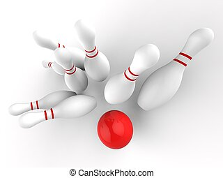 Bowling Strike Showing Skittles Game Success - Bowling...
