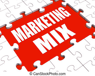 Marketing Mix Puzzle Showing Marketplace Place Price Product...