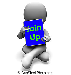 Join Up Tablet Character Showing Subscription Membership And Registration