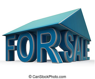For Sale Sign Under Home Roof - For Sale Sign Under Home...