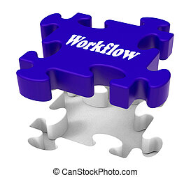 Workflow Puzzle Shows Structure Flow Or Work Procedure -...