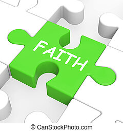 Faith Jigsaw Showing Spiritual Belief Or Trust - Faith...