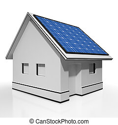 House With Solar Panels Shows Sun Electricity Or Power