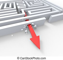 Break Out Of Maze Shows Overcome Puzzle Exit - Break Out Of...