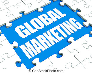 Global Marketing Puzzle Showing International Advertising Or...