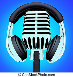 Headphones And Microphone Showing Recording Studio Or...