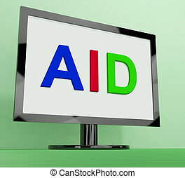 Aid On Monitor Shows Aiding Help Or Relief - Aid On Monitor...